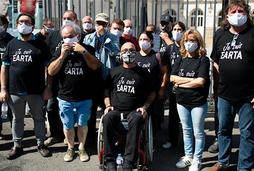 Les salariés d'Earta lors d'une manifestation à Nantes en août 2020 © Maxppp - Olivier Lanrivain
