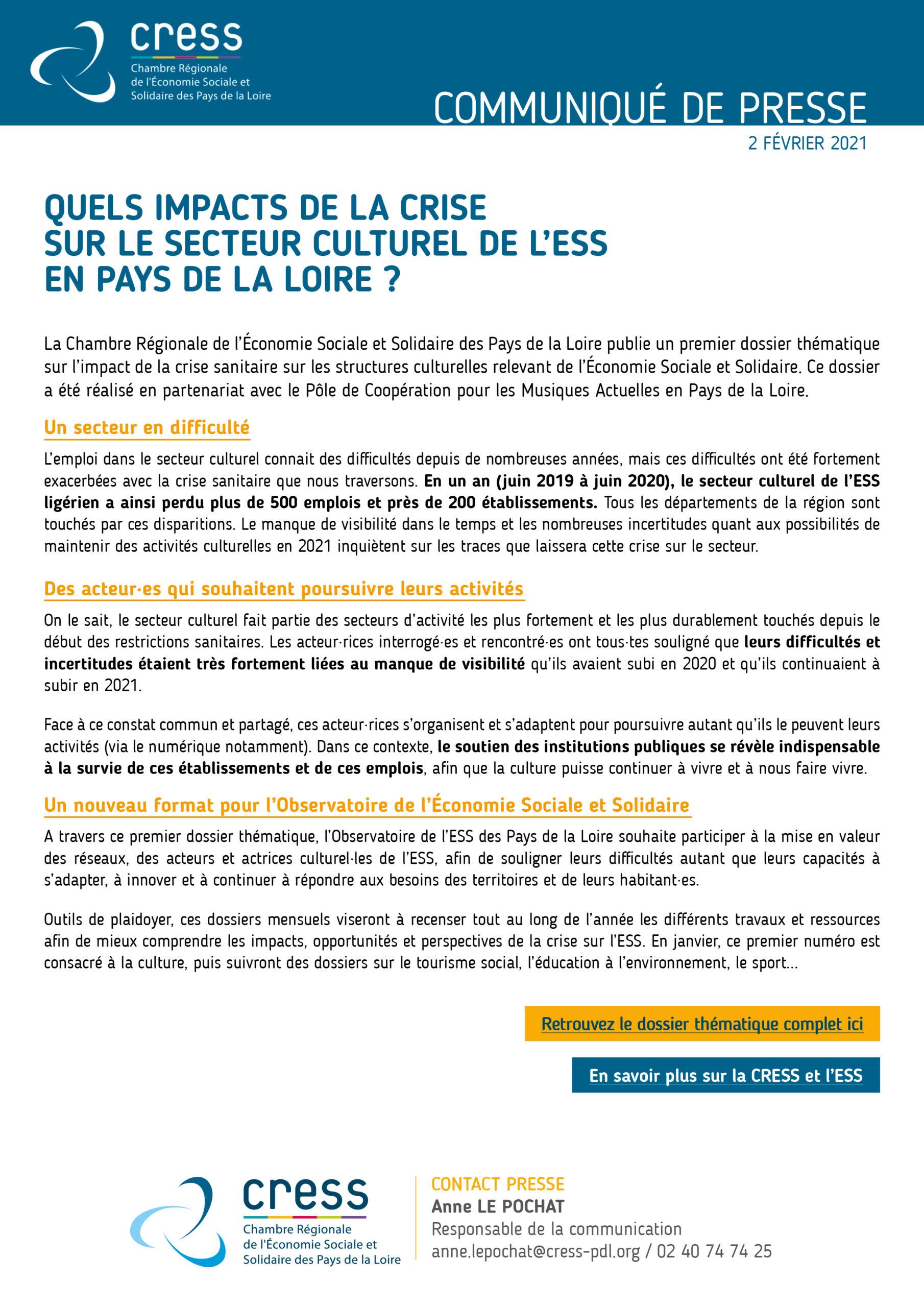 communiqué presse dossier thématique culture ess pays de la loire janvier 2021