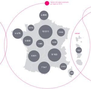 Carte de l'emploi coopératif en France